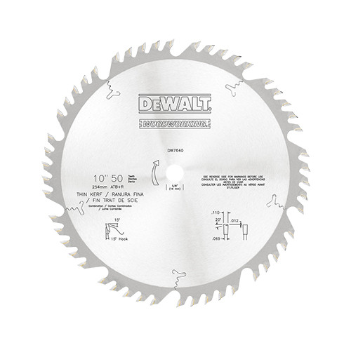 "DeWalt Combination Circular Saw Blade, 10"" 50T Thin Kerf"