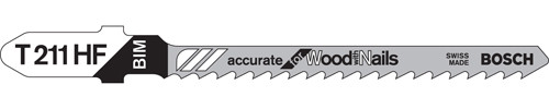 "Bosch T-Shank Bi-metal Jig Saw Blades, All-purpose 3""L x 10 TPI 5/pkg."