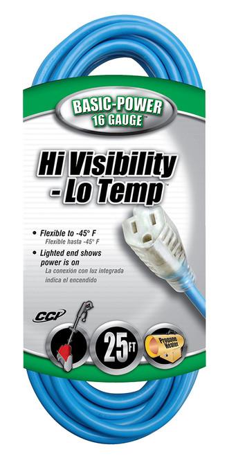 Coleman Cable Hi-Vis/Low Temp Extension Cord, 25', 16/3
