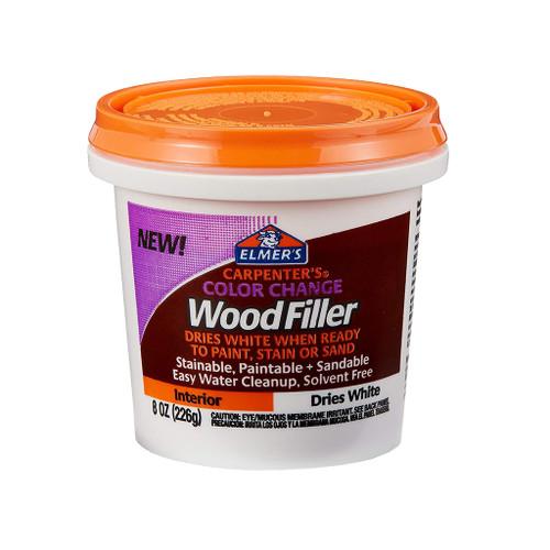 Elmer's Color Change Interior Wood Filler, White, 8 oz.