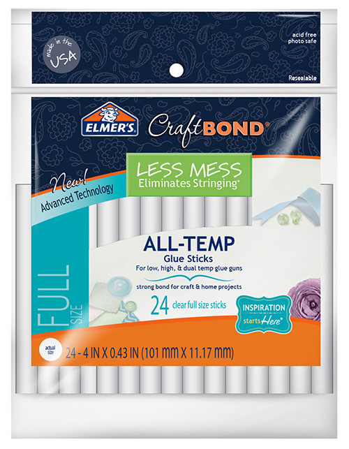 """Elmer's CraftBond Less Mess All Temp Glue Sticks 4"""" 24/pkg."""