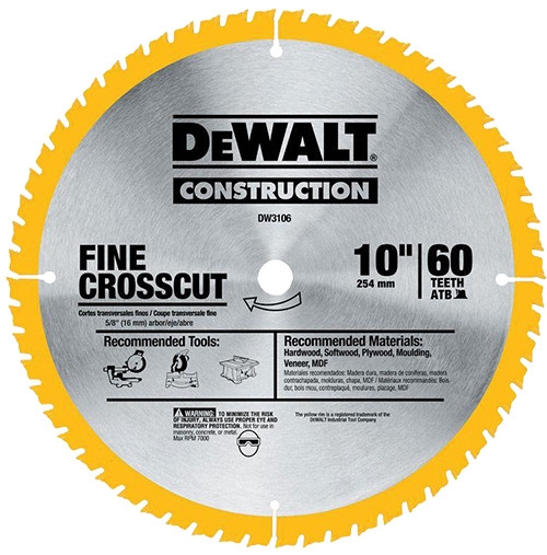 "DeWalt Construction Saw Blade 10"" x 60T"