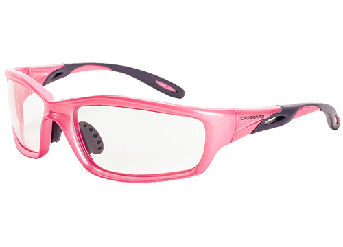 Crossfire Infinity Safety Glasses, Pink Frame, Clear Lens