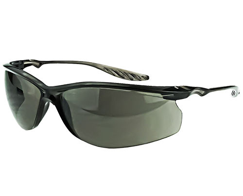 Crossfire 24Seven Safety Glasses, Black Frame, Smoke Lens