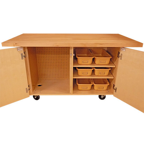 """Diversified Woodcrafts Makerspace Mobile Work Bench 1-3/4"""" Maple Top"""