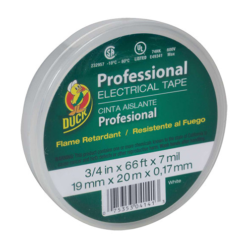 "Duck Professional Electrical Tape, White, 3/4"" x 66'"