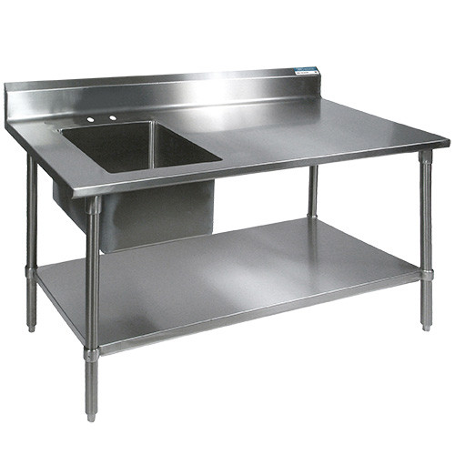 "Diversified Woodcrafts Stainless Steel Sink, 60""W x 30""D x 35.75""H"