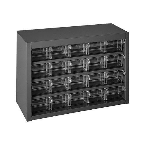 Durham Steel Parts Cabinet with 20 Plastic Drawers