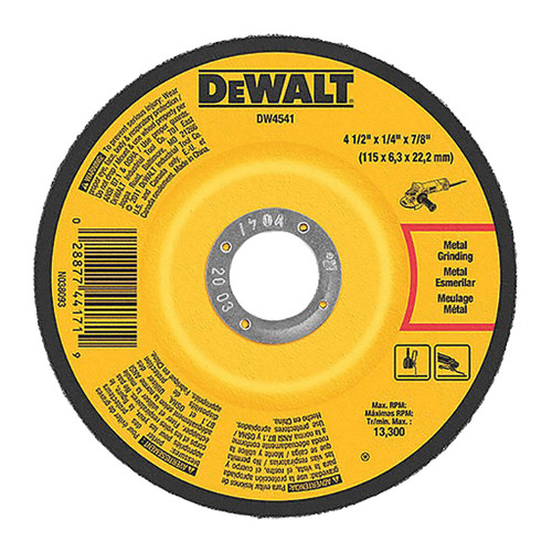 "DeWalt Type 27 Depressed Center Metal Grinding Wheel, 4-1/2"" x 1/4"" x 7/8"""