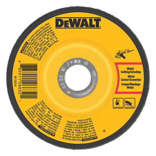 "DeWalt Type 27 Depressed Center Metal Grinding Wheel, 5"" x 1/4"" x 7/8"""