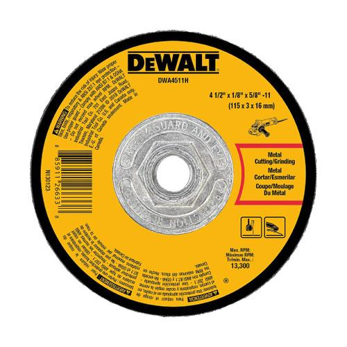 "DeWalt Type 27 Depressed Center Metal Grinding Wheel, 4-1/2"" x 1/8"" x 5/8""-11"