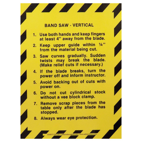 """Safety Rules Machine Safety Rules Vertical Band Saw, 6"""" x 8"""""""