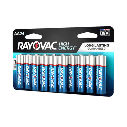 Rayovac High Energy Alkaline Batteries, AA 24-Pack