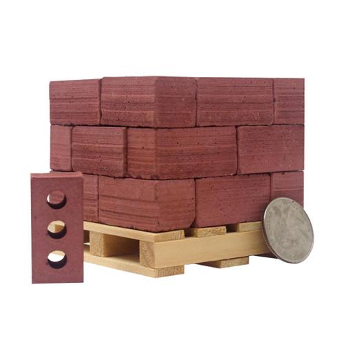 Mini Materials 1:6 Scale Mini Red Brick Pallet, 24-Pack