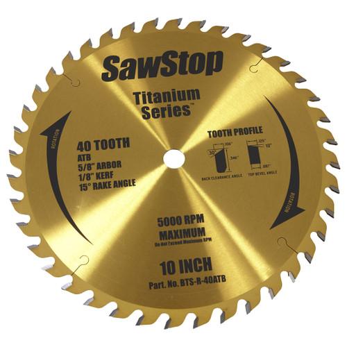 "SawStop 10"" Titanium Series Premium Woodworking Blade, 40 Tooth"