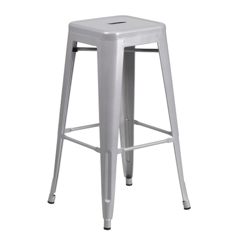 "CEF Stackable Industrial Metal Stool, Silver 24""H"