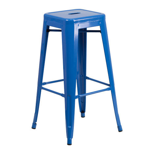 "CEF Stackable Industrial Metal Stool, Blue 30""H DISCONTINUED"
