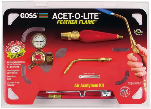 """Goss Feather Flame Air-Acetylene Torch Outfit, 1/4"""", Acetylene(B), Soldering/Brazing"""