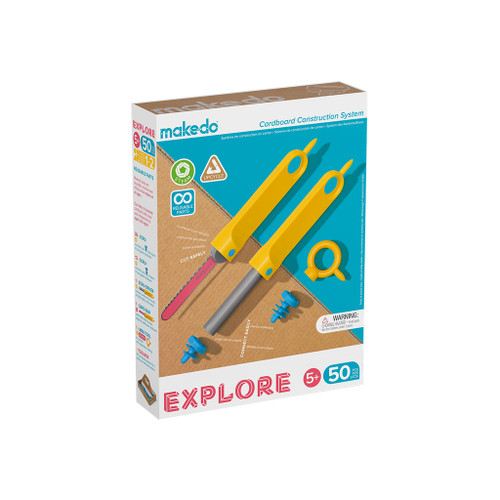 Makedo Cardboard Construction Explore Kit, 50-Piece
