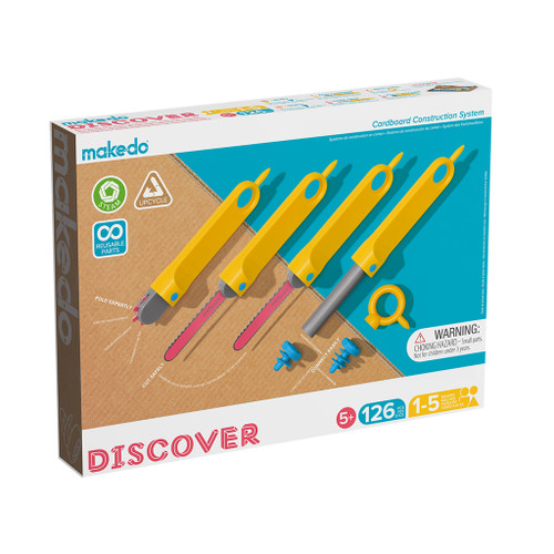 Makedo Cardboard Construction Discover Kit, 126-Piece