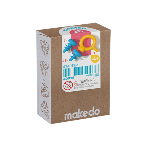 Makedo Cardboard Construction Starter Scru Kit, 36-Piece