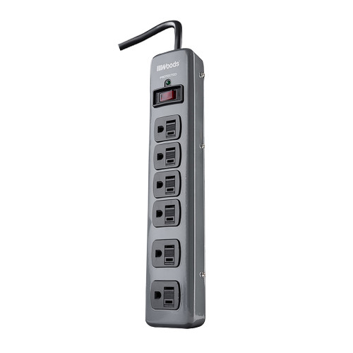 Woods Metal Surge Protector, 6-Outlet 3' Cord