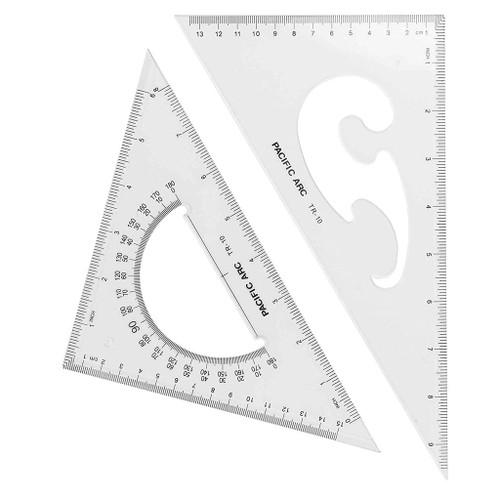 "Pacific Arc Scholastic Acrylic Triangle Set, 10"" 30/60, 45/90"