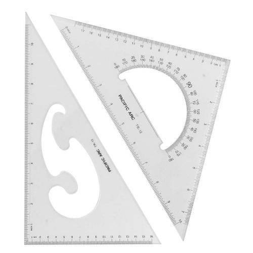 "Pacific Arc Scholastic Acrylic Triangle Set, 12"" 30/60, 45/90"