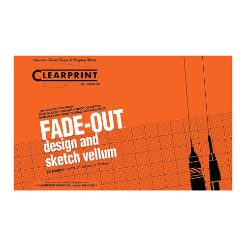 "Clearprint Fade-Out Vellum, Isometric, 11"" x 17"", 50"