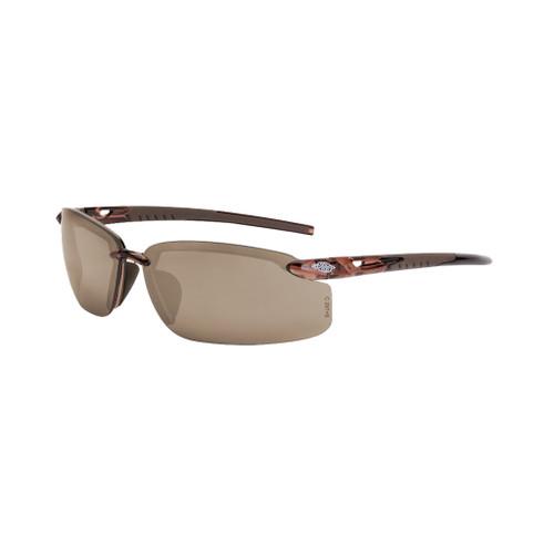 Radians Crossfire ES5 Premium Safety Glasses, Brown Frame, Brown Mirror Lens