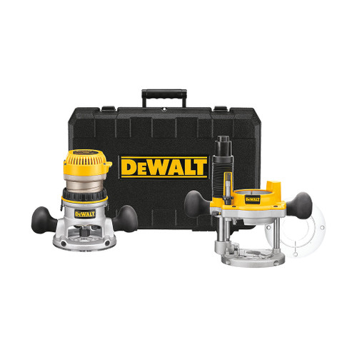 DeWalt 2-1/4 HP EVS Fixed Base Plunge Router Combo Kit with Soft Start