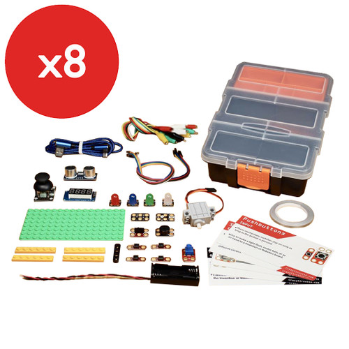 Brown Dog Gadgets Crazy Circuits Bit Board Classroom Kit, 8-Pack without micro:Bit