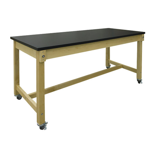 """Hann Collaboration Table, 30"""" x 72"""" with 1-1/4"""" Black HPL Top"""