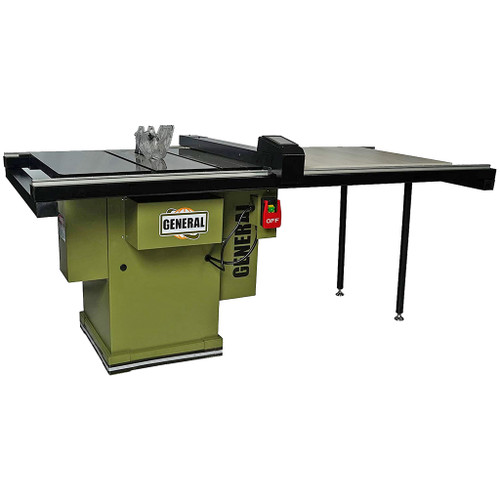 """General Intl 10"""" Auto Digital Table Saw, 52"""" T-Fence, 3 HP, 1 PH"""