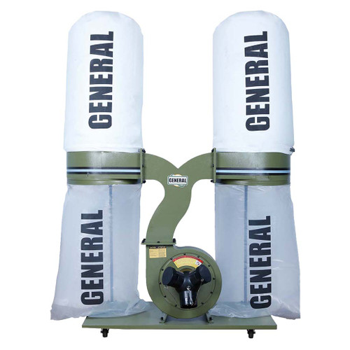 General Intl 3 HP Dust Collector with Smart Switch, Bag Filter