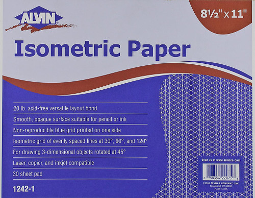 """Alvin Isometric Sketching Paper, 8-1/2"""" x 11"""", 30-Pack"""