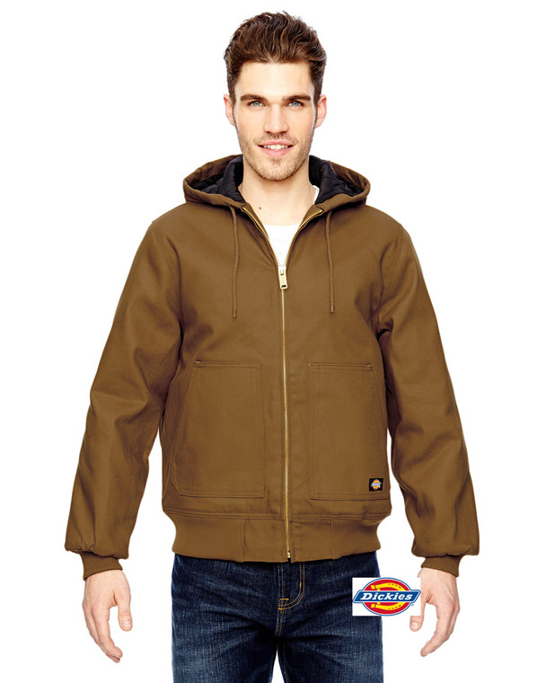 Dickies Men's Hooded Duck Jacket in brown