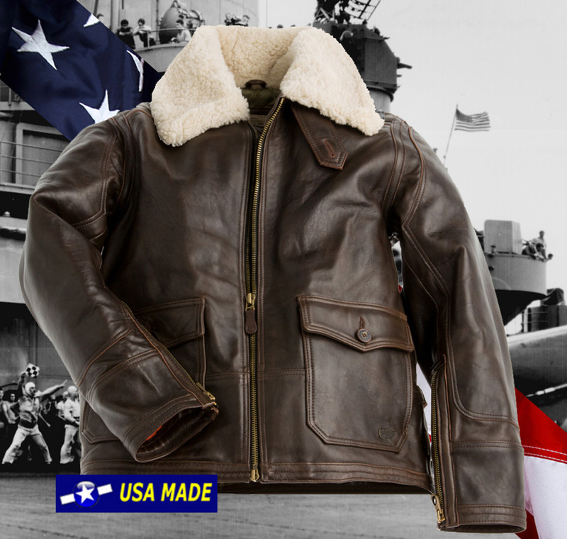 Sheepskin Leather Navy ANJ-4 Flight Jacket