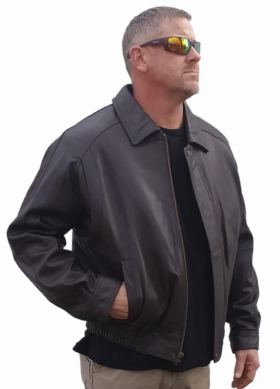 Brown Lambskin Bomber Jacket front slash pockets