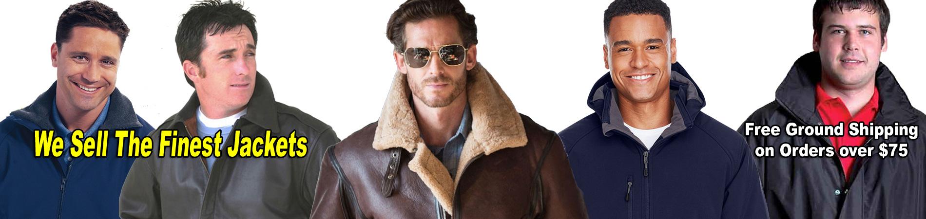 Leather Bomber Jackets, Nylon Bomber Jacket, Duck Jackets, Hunting Camo Jackets, Parkas, Tee Shirts, Hoodies.