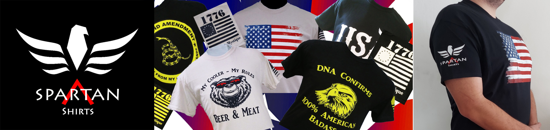 Tee Shirts in American Patriotic Themes.