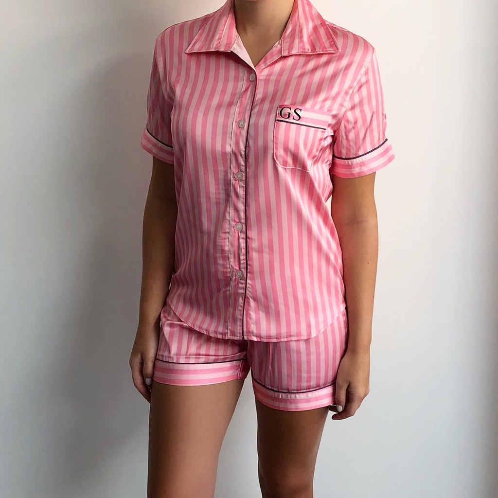 Pink Stripe Short Personalised Pyjama Set