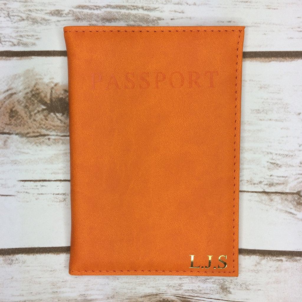 Personalised Orange Passport Cover
