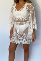 White AMBER Lace Cover Up