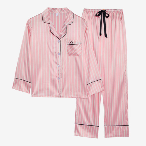 Pink Stripe Personalised Satin Long Pyjama Set