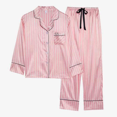 Pink Stripe Personalised Satin Long Pyjama Set