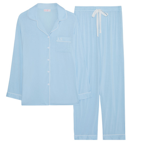 Light Blue Super Soft Personalised Long Pyjama Set