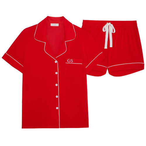 Red Super Soft Personalised Short Pyjama Set