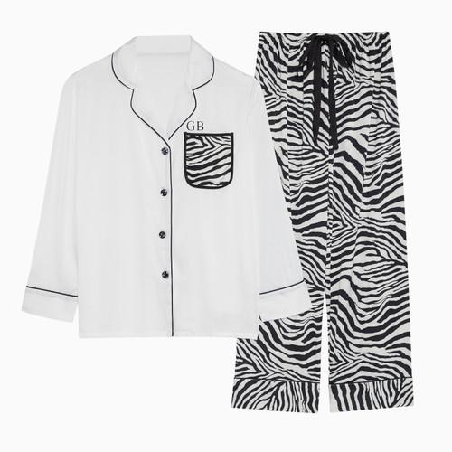 Zebra Satin Personalised Pyjama Set