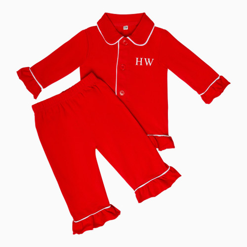 Girls - Kids Red Personalised Pyjamas